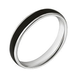 Обручальное кольцо в белом золоте Дорога счастья с чёрной эмалью 000064081