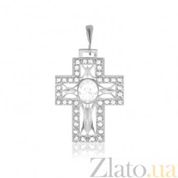 Серебряный крестик с фианитами Роскошь 000025272