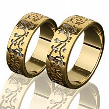Золотое обручальное кольцо Цветы любви
