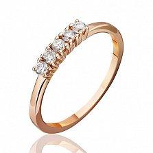 Кольцо из красного золота Фея с цирконием