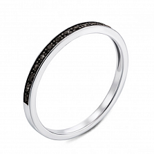 Кольцо в комбинированном цвете золота с черными бриллиантами и родированием 000124887