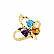 Золотое кольцо с аметистом, топазом и цитрином Аркадия