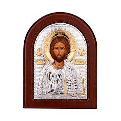 Серебряная икона Спаситель в деревянной рамке 000141195