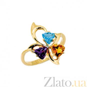 Золотое кольцо с аметистом, топазом и цитрином Аркадия ZMX--RTCtAm-6617_K