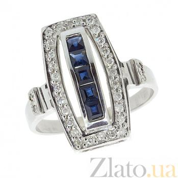 Серебряное кольцо с бриллиантами и сапфирами Сакварела ZMX--RDS-6160-Ag_K