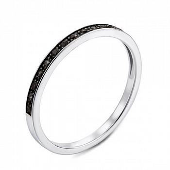 Кольцо из белого золота с черными бриллиантами и родированием 000124887