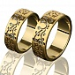 Золотое обручальное кольцо Цветы любви OB2093