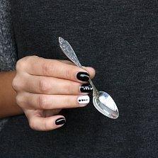 Серебряная кофейная ложка Ароматное утро с чернением