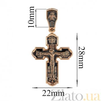 Золотой крест с чернением Покровитель небес VLT--КС1-3087-3