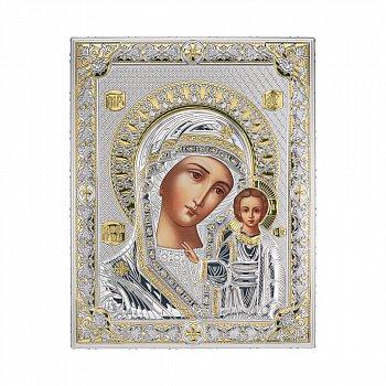 Икона с серебрением Божья Матерь с младенцем 000137864