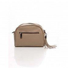 Кожаный клатч Genuine Leather 1828 цвета мокко с передним карманом и молнией