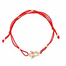 Браслет из красного золота и красной нити с ангелом и фианитами 000131606