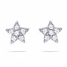 Золотые серьги-пуссеты Звезда очей в белом цвете с белыми фианитами