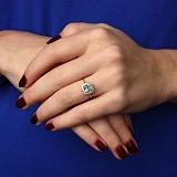 Кольцо из красного золота Мирабель с синтезированным голубым кварцем и фианитами