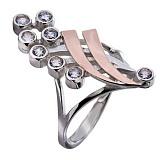 Кольцо из серебра Орхидея с золотом и кристаллами Swarovski