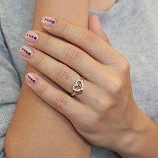 Золотое кольцо с цирконием Влюбленное сердце
