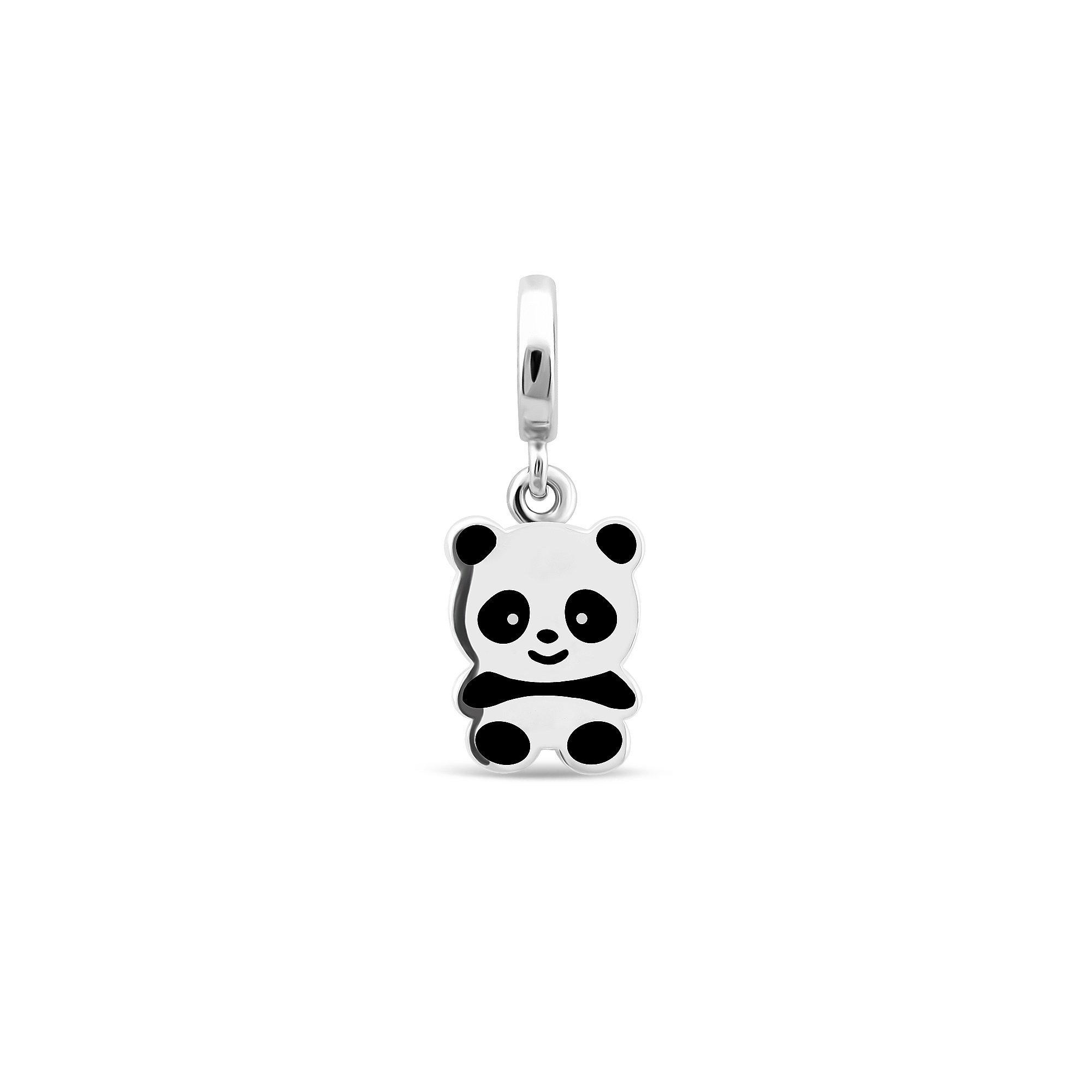 Серебряная подвеска Ми-ми-ми панда с белой и черной эмалью