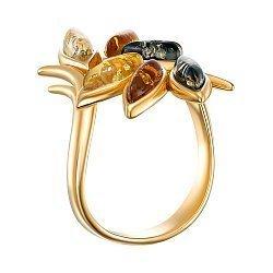 Серебряное кольцо с янтарем и позолотой 000139177