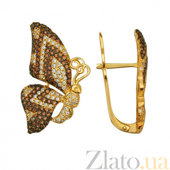 Серьги из желтого золота с белыми и коньячными фианитами Бабочки VLT--ТТ288-1