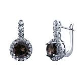 Элегантные серебряные серьги с раухтопазом Гвинэт