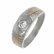 Серебряное кольцо с золотыми вставками и цирконием Гомер