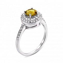 Серебряное кольцо с желтым хризолитом и фианитами 000134880