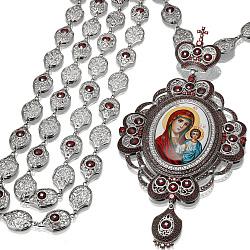 Серебряный крест Матерь Божия и младенец с фианитами 000059602