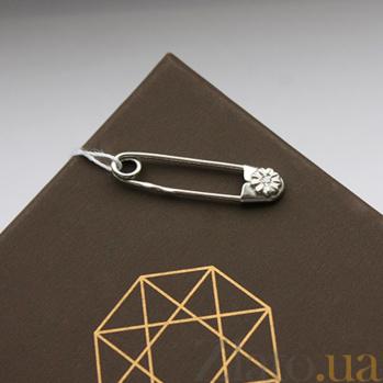 Серебряная родированная булавка Далия с фианитом 000027339