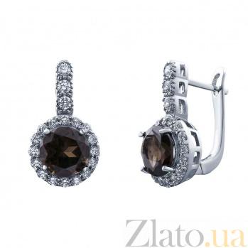Элегантные серебряные серьги с раухтопазом Гвинэт AQA--E00967RT