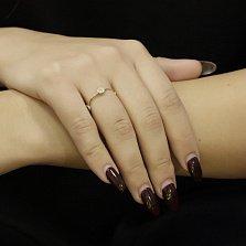 Золотое кольцо Айдахо в желтом цвете с цветочками и бриллиантами
