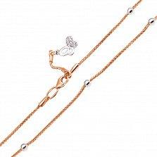 Золотой браслет на ногу Бабочка в комбинированном цвете с фианитами