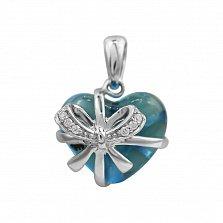 Подвес из белого золота Сердце в подарок с бриллиантами и голубым топазом