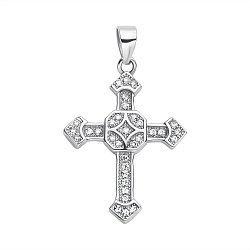 Серебряный декоративный крестик с орнаментом и фианитами 000118018