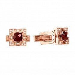 Запонки из красного золота с гранатом и фианитами 000133365