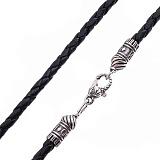 Кожаный плетеный шнурок Стабильность с серебряной узорной застежкой-рыбой