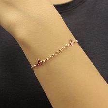 Золотой браслет Яркие мотыльки с красной и белой эмалью