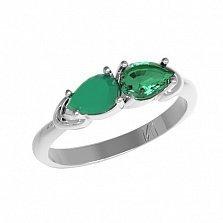 Серебряное кольцо Арлина с зеленым агатом и зеленым кварцем