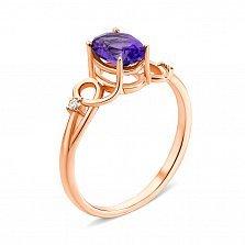 Кольцо из красного золота с аметистом и фианитами 000133427