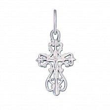 Крестик из белого золота Божественное благословение