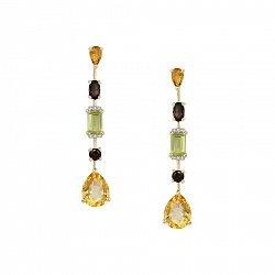 Серьги в желтом золоте Морро с цитринами, раухтопазами,хризолитами и бриллиантами