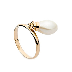Золотое кольцо Фатима с подвеской-жемчужиной в форме капли