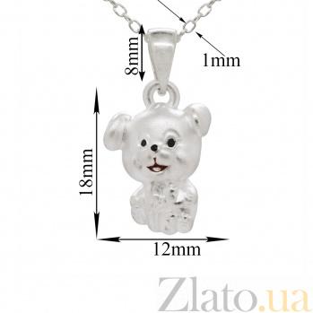 Серебряное колье Улыбчивый щенок с черной и красной эмалью 000082166