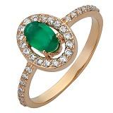 Золотое кольцо Ронда с агатом и фианитом