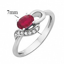 Серебряное кольцо Азон с рубином и цирконием