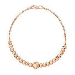 Браслет из красного золота с шариками и алмазной гранью 000131614