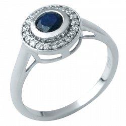 Серебряное кольцо Органичность с сапфиром и фианитами