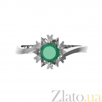 Серебряное кольцо Наоми с зеленым агатом 000079708