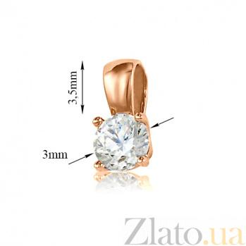 Кулон из красного золота Элегантность с кристаллом Swarovski 000029485