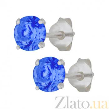 Серебряные cережки-пуссеты с синим цирконием Эсселта SLX--С2ФС/603