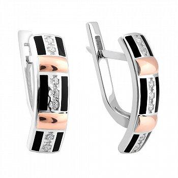 Серебряные родированные серьги с золотыми накладками, фианитами и черной эмалью 000114495